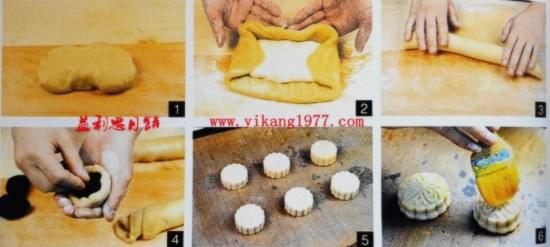 一、双酥月饼的制作原料 1、糖浆:粗砂糖100%、水45%、柠檬酸0.06%. 2、皮:低筋粉500克、花生油150克、糖浆300克、枧水5克。 3、酥:低筋粉400克、糖粉100克、糖浆300克、枧水5克。 4、馅料:月饼馅适量(市场有售)  益利思品牌月饼制作步骤方法 二、双酥月饼的制作方法 糖浆熬制方法同广式月饼糖浆,配方如上。糖度要求为74到75度。 1、饼皮制作同广式月饼饼皮,原料配方如上,和成均匀的面团松弛0.